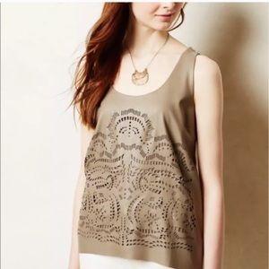 Anthropologie tan laser cut sleeveless top